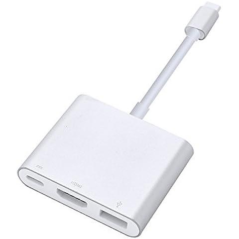 COOSA Adaptador USB portátil C-AV digital multipuerto (USB 3.1 tipo C a HDMI y USB 3.0) PD convertidor de cable de carga para 12 pulgadas de Apple MacBook y Nueva ordenador portátil Chromebook Pixel (Plata)