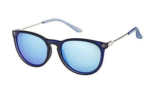 O'Neill Women's Polarized Round Sunglasses, Frosted Blue, 53 mm