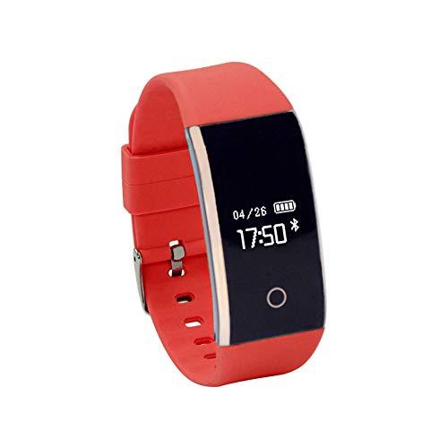 Haihuic Smartwatch Herzfrequenz/Blutdruck / Schlaf-Monitor, Schritt Kalorien Zähler Schrittzähler Wasserdichter Fitness Tracker für iPhone Android |rot - Zähler-monitor Kalorien