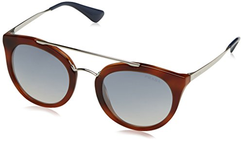 Prada Damen 0PR23SS USE5R0 52 Sonnenbrille, Braun (Striped Brown/Light Blue Silver)