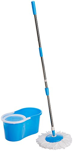 Generic Easy Magic Floor Mop 360 Degree Bucket 2 Heads Microfiber Spin Spinning Rotating Head (Color May Vary)
