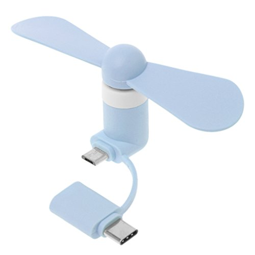 Yiwann Tragbarer Ventilator, 2in1 Typ C Micro USB Mini Fan Kühler für Samsung Xiaomi Huawei HTC Handy Geschenk blau -