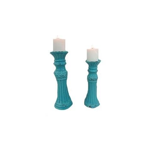 Paire de Bleu vieilli en céramique Colonne pilier bougeoirs