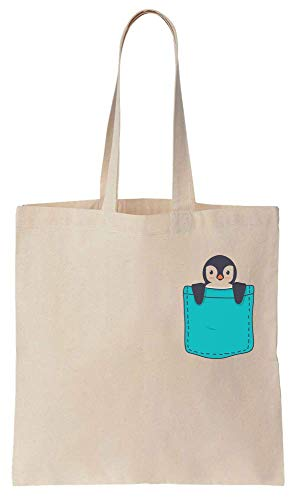 Finest Prints Cute Penguin Sitting In Your Pocket Cotton Canvas Tote Bag -