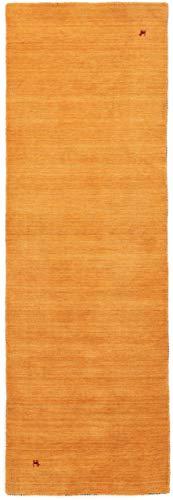 CarpetFine: Gabbeh Uni Läufer Teppich 75x200 cm Gelb - Einfarbig -