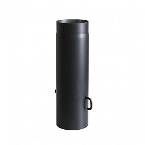 Kamino Flam Ofenrohr mit Drosselkappe in Schwarz, Rauchrohr aus Stahl für sichere Ableitung von Abgasen, hitzebeständige Senotherm Beschichtung, geprüft nach Norm EN 1856-2, Maße: L 500 x Ø 150 mm