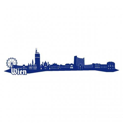 Wandtattoo Wien Skyline Wandaufkleber in 6 Größen und 19 Farben (230x52cm königsblau)