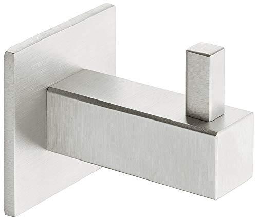 Gedotec Garderobenhaken Edelstahl matt Kleiderhaken eckig - Modell H8585 | Höhe: 50 mm | Wand-Haken unsichtbar verschraubt | 1 Stück - Mantelhaken mit Schrauben