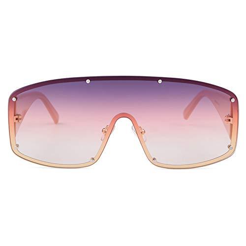 ZRTYJ Sonnenbrille Übergroße futuristische Shield Männer Frauen Sonnenbrillen Brand Design Rivet Frame große Sonnenbrille One Piece Shades
