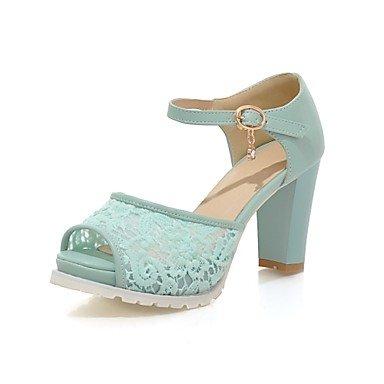 Sanmulyh Femmes Chaussures Dentelle D'été En Simili-cuir Mary Jane Sandales Chunky Talon Peep Toe Strass Boucle Pour Noce Et Soirée Rose Bleu Blanc Bleu