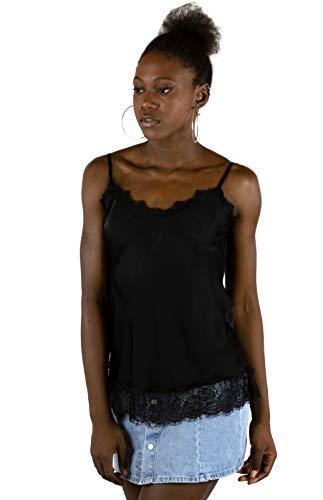 Mer's Style - Top Lencero con Encaje y Tirantes para Mujer, Negro