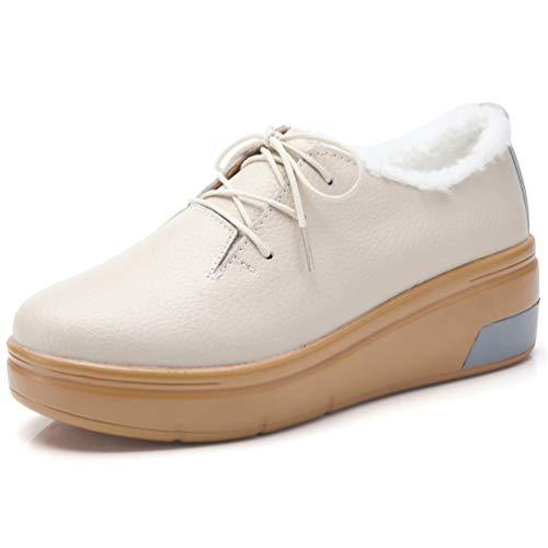Frauen Flache Mokassins Loafers Oxfords Boot Kuh Wildleder Plüsch Pelz Frühling Herbst Plattform Keile Sneakers