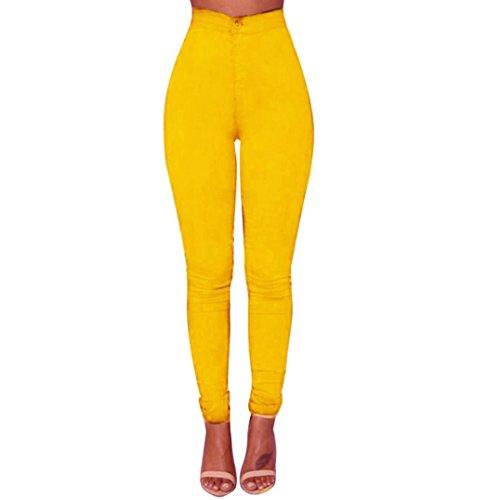 Internet Damen Denim Jeans Neue Art und Weise Multi Farben Mädchen Beiläufige Jeans Hosen (XL, Gelb) (Damen Rotes Kleid Hose)