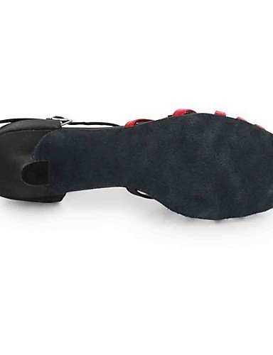 ShangYi Chaussures de danse(Noir / Gris) -Personnalisables-Talon Personnalisé-Similicuir-Latine black and red