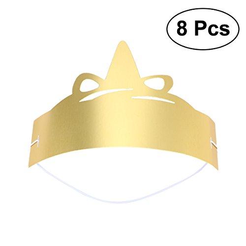 BESTOYARD 8 stücke Glitter Unicone Birthday Party Papier Hüte DIY Handwerk Hut für Kinder Erwachsene (Gold)