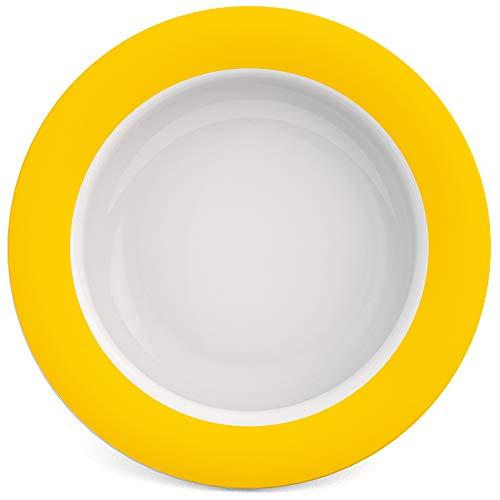 Ornamin Schale mit Kipp-Trick Ø 15,5 cm gelb | Spezialteller mit Randerhöhung für selbstständiges Essen | Esshilfe, Melamin, Anti-Rutsch Schale, Tellerranderhöhung