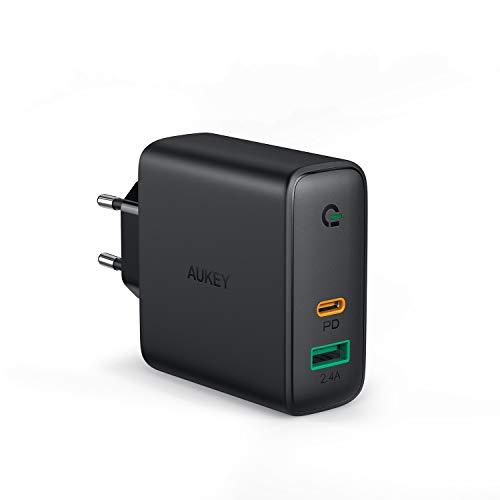 AUKEY USB C Ladegerät 60W Power Delivery, USB-C Netzteil mit Dynamic Detect & GaN Tech, USB C PD Ladegerät für MacBook Pro, iPhone 11 Pro / 11, AirPods Pro, Google Pixel, iPad, Nintendo Switch usw.