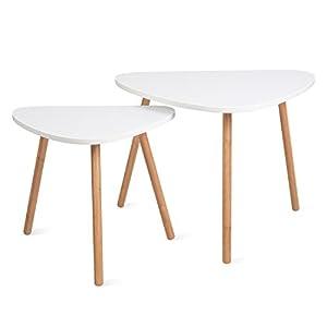 HOMFA 2x Beistelltisch weiß Couchtisch rund Wohnzimmertisch skandinavisch Kaffetisch klein Satztisch Set Groß(60x39,5x45cm),Klein(45x29,5x40cm)