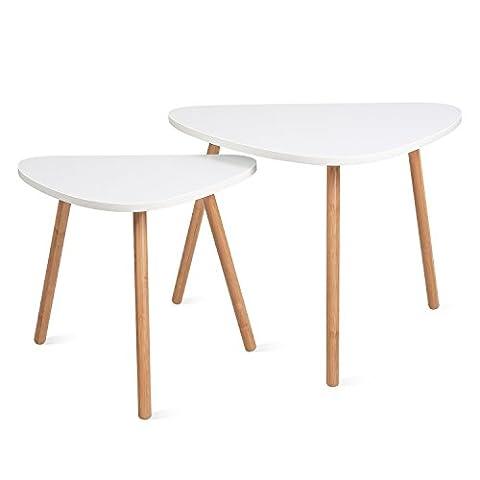HOMFA 2x Beistelltisch weiß Couchtisch rund Wohnzimmertisch Kaffetisch Satztisch,