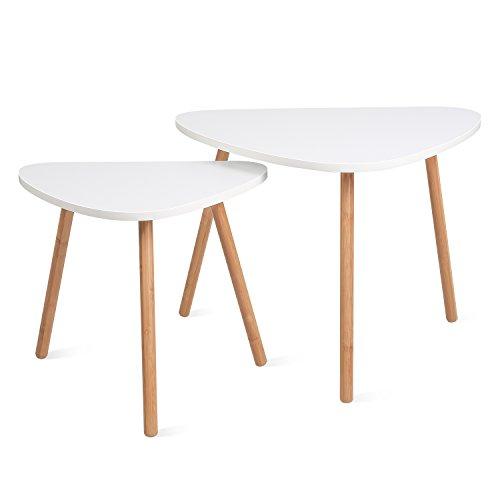 HOMFA 2x Beistelltisch weiß Couchtisch rund Wohnzimmertisch skandinavisch Kaffetisch klein Satztisch Set Groß(60x39,5x45cm),Klein(45x29,5x40cm) -