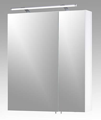 Schildmeyer 125095 Spiegelschrank, 60 x 75 x 16 cm, weiß Glanz