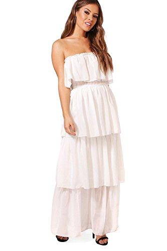 Damen Weiß Petite Boutique Gigi Maxi-bandeaukleid Mit Rüschen Weiß