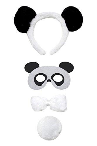Petitebelle Stirnband Bowtie Schwanz Maske 4pc Kostüm Einheitsgröße Panda (Panda Schwanz Kostüm)