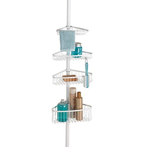 Home Vierfach-haken (InterDesign York Teleskop Duschregal | mit Handtuchhalter und Haken | hochwertige Duschablage ohne Bohren | vierfacher Duschkorb für mehr Stauraum | Metall weiß lackiert)