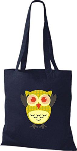 ShirtInStyle Jute Stoffbeutel Bunte Eule niedliche Tragetasche mit Punkte Karos streifen Owl Retro diverse Farbe, natur blau
