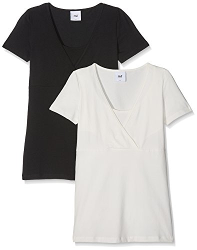 MAMALICIOUS Damen MLLEA Organic TESS S/S TOP NF 2PACK NOOS Umstands-T-Shirt, Schwarz (Black Pack:Snow White), 38 (Herstellergröße: M) (erPack 2