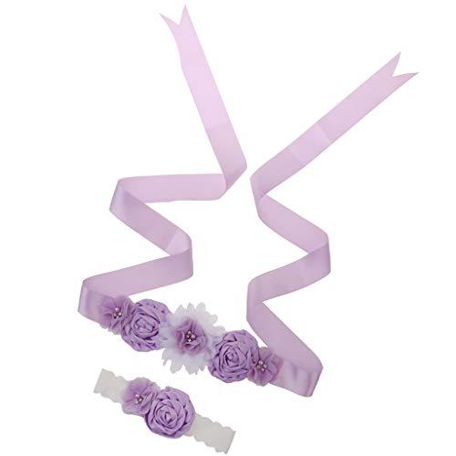 PETSOLA 2pcs Hochzeit Braut Brautjungfer Blumenmädchen Mutterschaft Schärpe Gürtel Stirnband Set - Helles Lila -