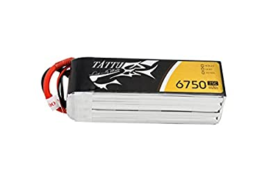 Tattu LiPo Battery 6750mAh 14.8V 25C 4S with XT90 Plug for RC Multicopter UAV Drone Aircraft Flight Elite and UAV in size 550