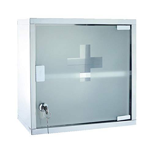Cassetta di pronto soccorso kit di pronto soccorso cassetta di emergenza per medicinali di emergenza cassetta di sicurezza per la famiglia serratura doppia in metallo con vetro in acciaio inossidabile