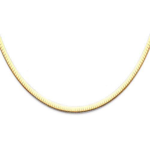 Halskette Gelb 14k Omega Gold (14K Gelb Gold 4mm Funkeln Omega Halskette–45,7cm)