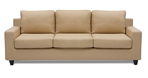 Dolphin Oxford Leatherette 3 Seater Sofa Set-Beige