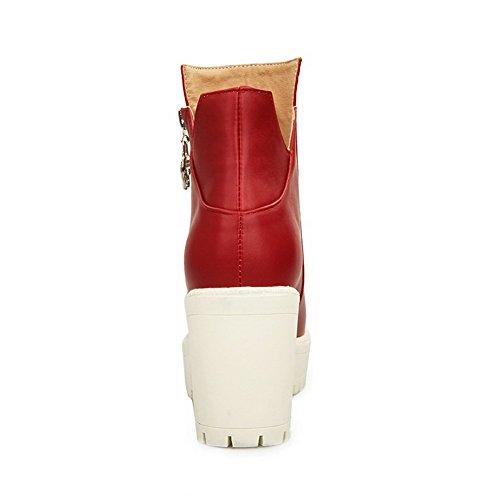 VogueZone009 Donna Punta Tonda Puro Bassa Altezza Tacco Alto Stivali con Ornamento Di Metallo Rosso