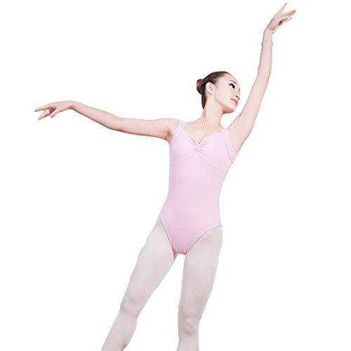 WYGH Erwachsene Damen Ballett Trikot Ärmellos Rückenfrei Gurt Tanzen Bodysuit Oben Elegant Einfach Stil Schule Gymnastik Tanzkleidung Kostüm,Light pink-XXL (Einfache Schule Kostüm)