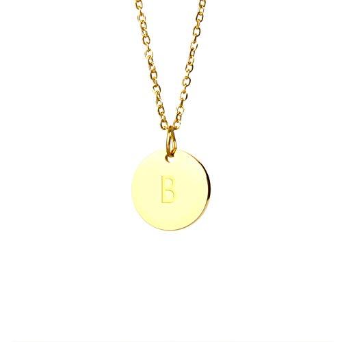 Good.Designs Halskette mit Buchstaben in Gold, Initialen-Halskette aus Edelstahl mit 24K Echtgold-Beschichtung