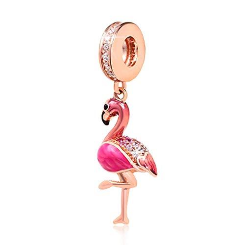 YiRong Jewelry Flamingo-Anhänger, 925er Sterlingsilber, Geburtstags-Anhänger in Tierform für Pandora-Bettelarmbänder