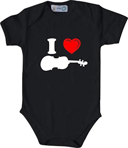 Unbekannt Lustiger Baby Body mit Druck/I Love Geige, Violine/Farbe: Schwarz/Größe: 50-56 (1-2 Monate)
