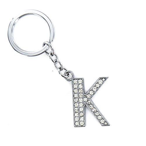 Crystal Alphabet (It's-ok Fashion Crystal Strass Alphabet Schlüsselanhänger Initiale Buchstabe Schlüsselanhänger Unisex Schlüsselanhänger 26 Buchstaben, Rostfreier Stahl, K)