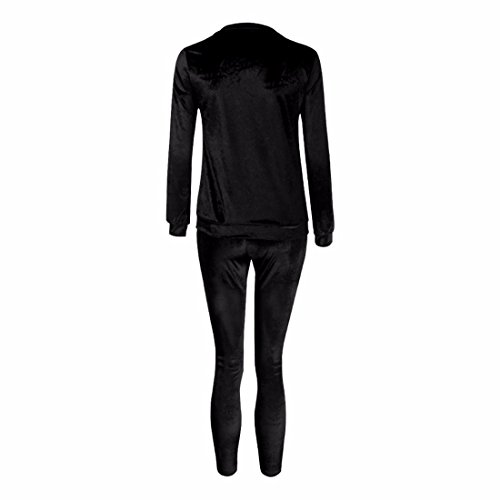 Velours femmes casual tortue cou jersey style Chemise blouses harem pantalon costume Noir