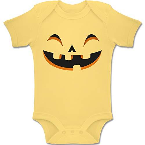 Shirtracer Karneval und Fasching Baby - Kürbisgesicht Kostüm - 3-6 Monate - Hellgelb - BZ10 - Baby Body Kurzarm Jungen Mädchen