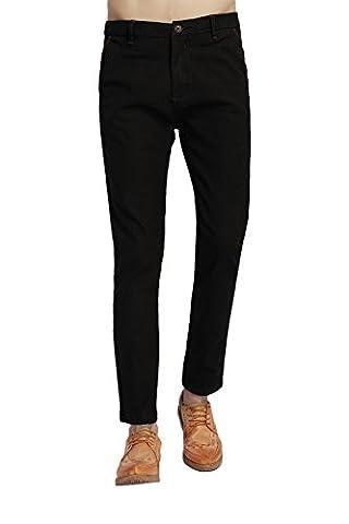 Pau1Hami1ton PH-08 Men's Flat-Front Slim Tapered Stretch Casual Pant (30, Black)