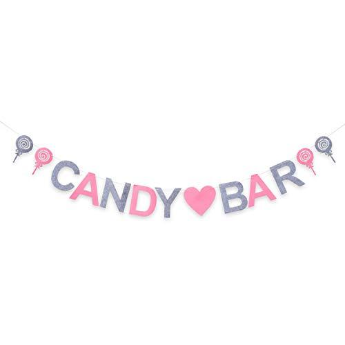 Oblique Unique® Candybar Filz Girlande Banner für JGA Junggesellinnenabschied Hochzeit Geburtstag Party Feier Deko - Rosa und Grau