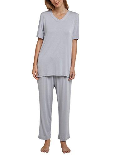 Schiesser Damen Zweiteiliger Schlafanzug Anzug 7/8, 1/2 Arm, Grau (Silber 206), 44 (Herstellergröße 044) - Streifen-satin Baumwolle Pyjama