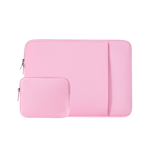 "RAINYEAR 14 Inch Laptop Sleeve Case Protective Soft Padded Zipper Cover Carrying Computer Bag with Front Pocket & Accessories Pouch,Compatible with 14"" Notebook Chromebook Tablet Ultrabook(Pink)"