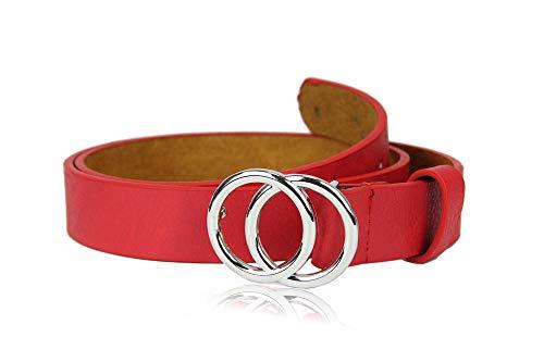 irisaa Schmaler Damen Gürtel mit runder Metallschnalle zwei Ringen, 2,8 cm breit und 0,4 cm stark, Länge:90, Farbe:Rot mit Silberring -