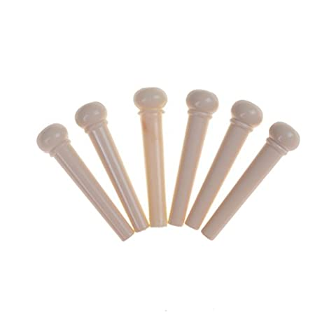 Changyin-UK 6 x String Bridge Pin Peg for Acoustic Guitar- cream with black dot