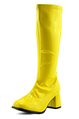 Kick Footwear Damen Knie Hoch Hoch Block Ferse Lange Stiefel - UK 3/EU 36, Gelb (Hohe-ferse-knie-boot)
